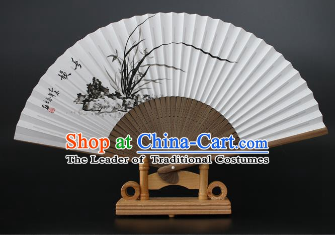 Chinese Traditional Artware Handmade Folding Fans Ink Painting Orchid Paper Fans
