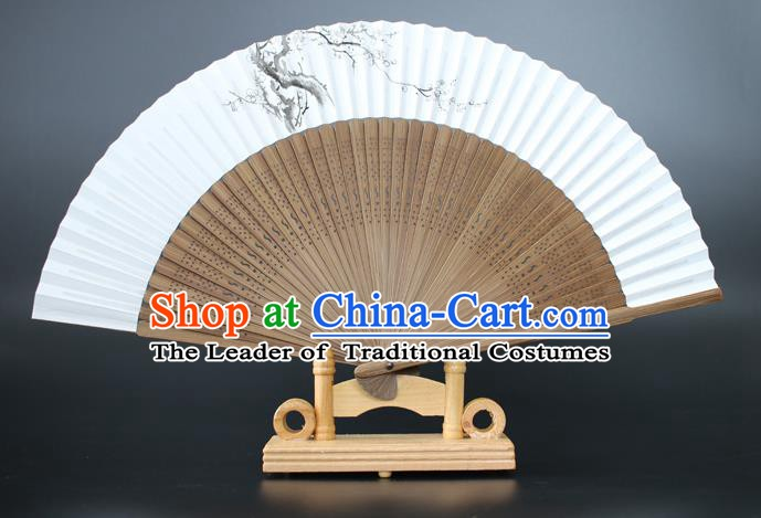 Chinese Traditional Artware Handmade Sandalwood Folding Fans Ink Painting Plum Blossom Paper Fans