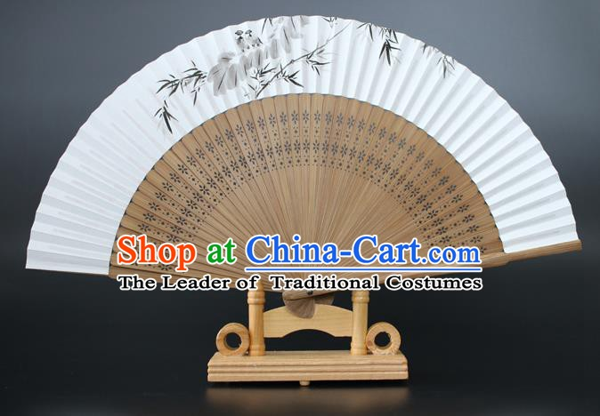 Chinese Traditional Artware Handmade Sandalwood Folding Fans Ink Painting Bamboo Leaf Paper Fans