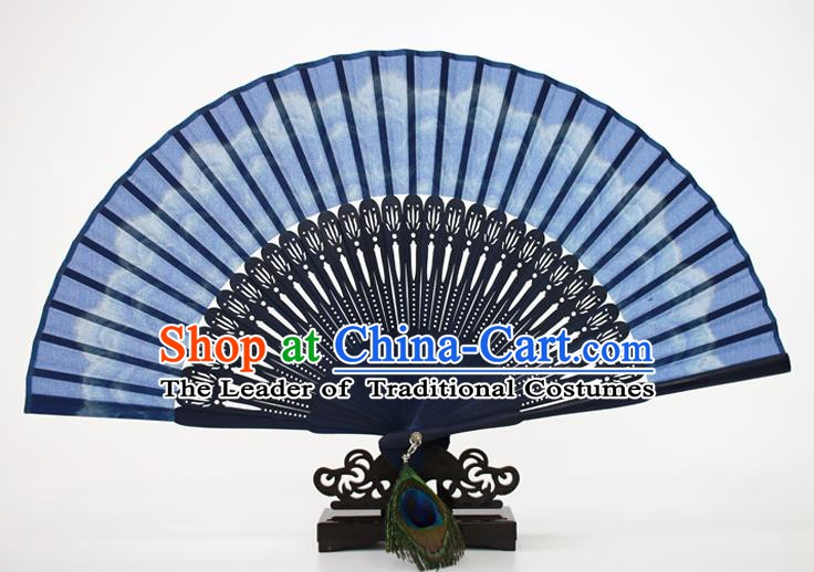Chinese Traditional Artware Handmade Folding Fans Blue Silk Accordion Fans