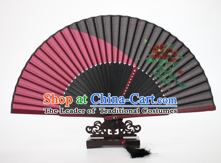 Chinese Traditional Artware Handmade Folding Fans Rosy Silk Fans Printing Flowers Accordion