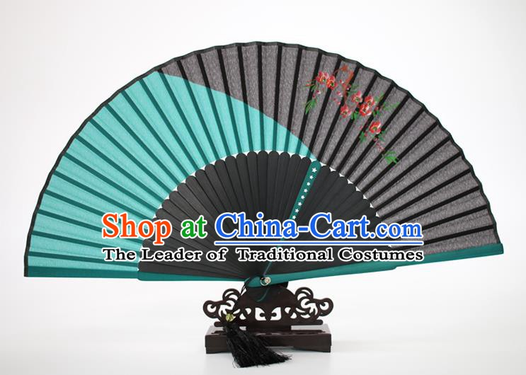 Chinese Traditional Artware Handmade Folding Fans Green Silk Fans Printing Flowers Accordion