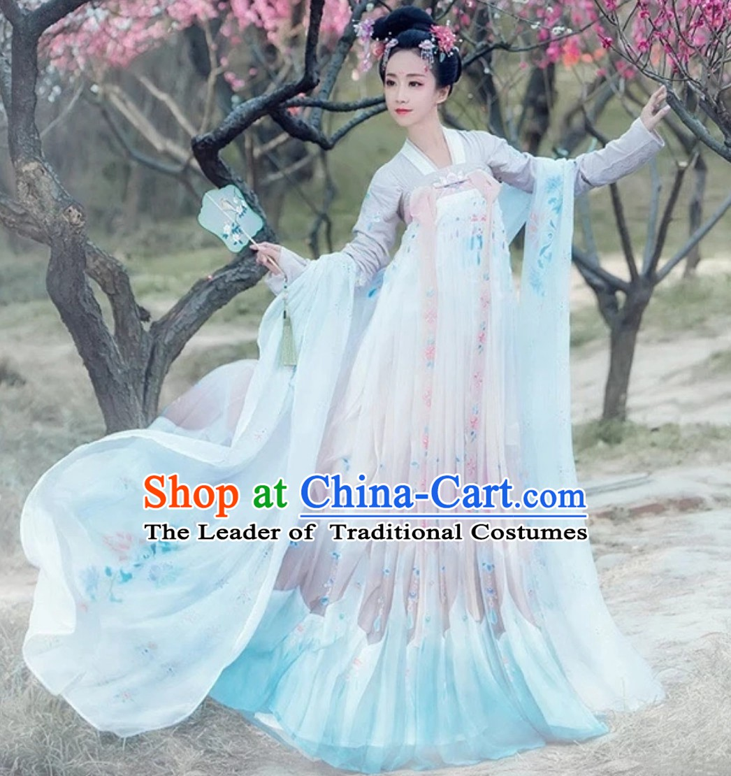 320991a05 Ancient Chinese Hanfu Dress Clothing Complete Set for Women Girls