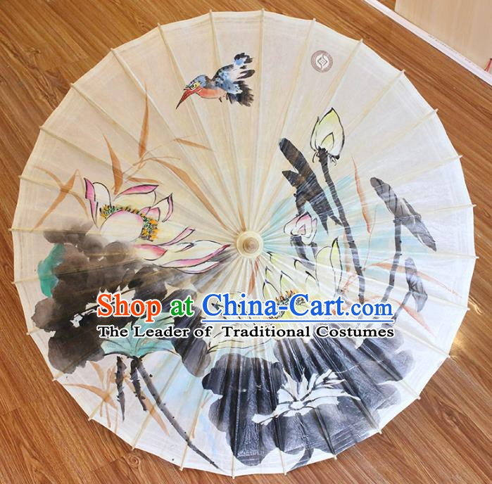Chinese Traditional Artware Dance Umbrella Hand Painting Lotus Paper Umbrellas Oil-paper Umbrella Handmade Umbrella