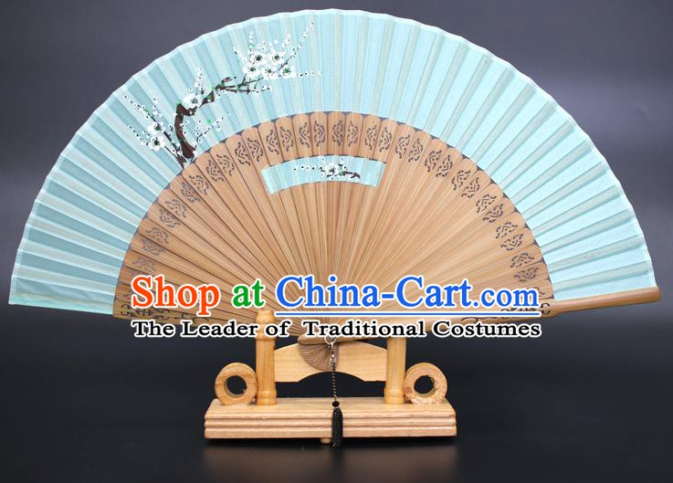 Chinese Traditional Artware Handmade Folding Fans Printing Plum Blossom Green Silk Fans Accordion