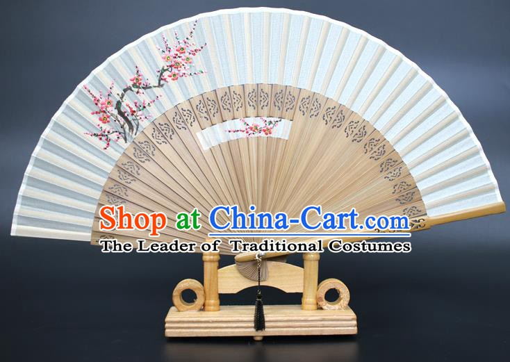 Chinese Traditional Artware Handmade Folding Fans Printing Plum Blossom Silk Fans Accordion