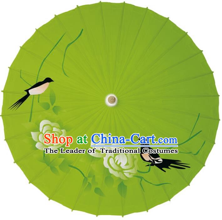 Chinese Traditional Artware Dance Umbrella Printing Peony Birds Paper Umbrellas Green Oil-paper Umbrella Handmade Umbrella
