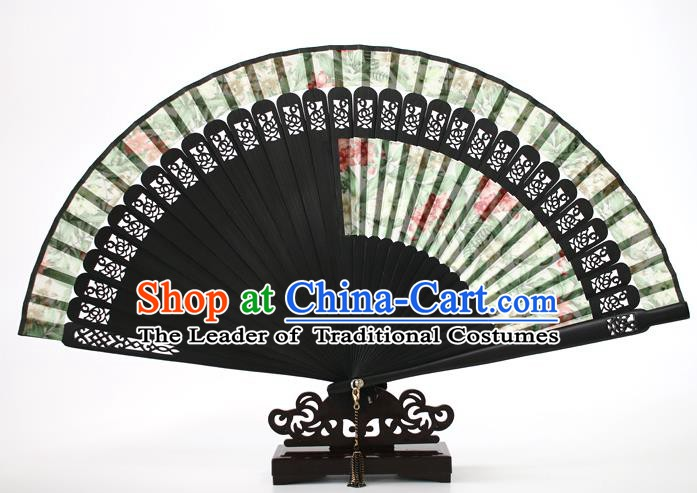 Chinese Traditional Artware Handmade Printing Folding Fans Green Silk Fans Accordion