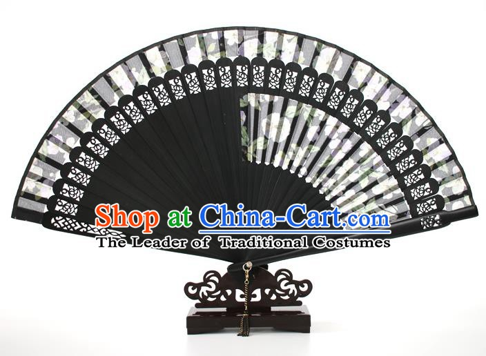 Chinese Traditional Artware Handmade Printing Folding Fans Black Silk Fans Accordion