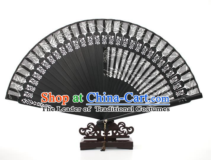 Chinese Traditional Artware Handmade Printing Bamboo Folding Fans Black Silk Fans Accordion