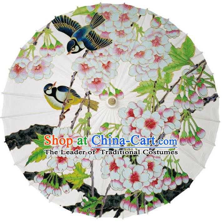 Chinese Traditional Artware Dance Umbrella Printing Begonia Birds Paper Umbrellas Oil-paper Umbrella Handmade Umbrella