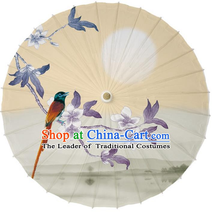 Chinese Traditional Artware Dance Umbrella Printing Peach Blossom Birds Paper Umbrellas Oil-paper Umbrella Handmade Umbrella