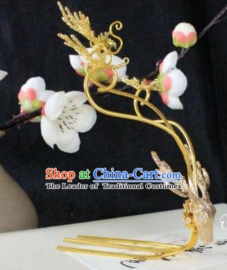 Chinese Handmade Classical Hair Accessories Golden Hairpin Hair Sticks Beers Hairpins for Women