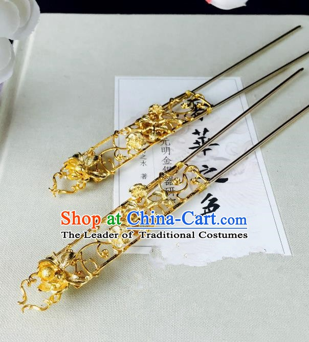 Chinese Handmade Classical Hair Accessories Golden Flowers Hairpin Hair Sticks Hanfu Hairpins for Women