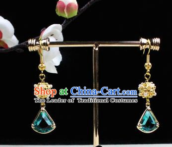 Chinese Handmade Classical Accessories Green Crystal Earrings Hanfu Eardrop for Women