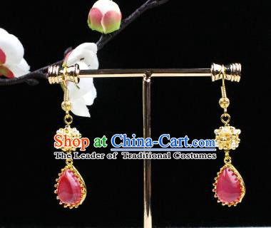 Chinese Handmade Classical Accessories Pink Crystal Earrings Hanfu Eardrop for Women