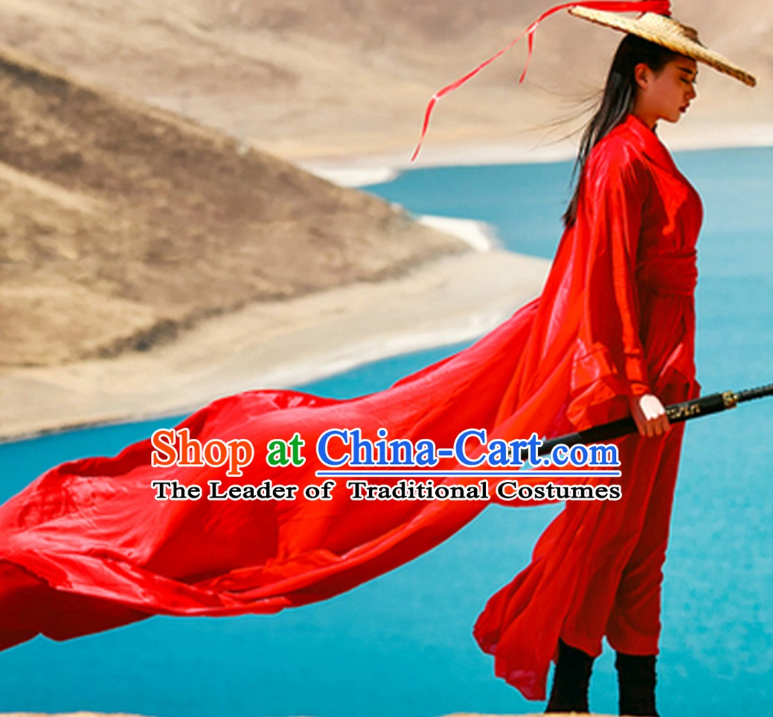Ancient Chinese Hanzhuang Theater and Reenactment Costumes Hanfu and Bamboo Hat Complete Set for Women or Men