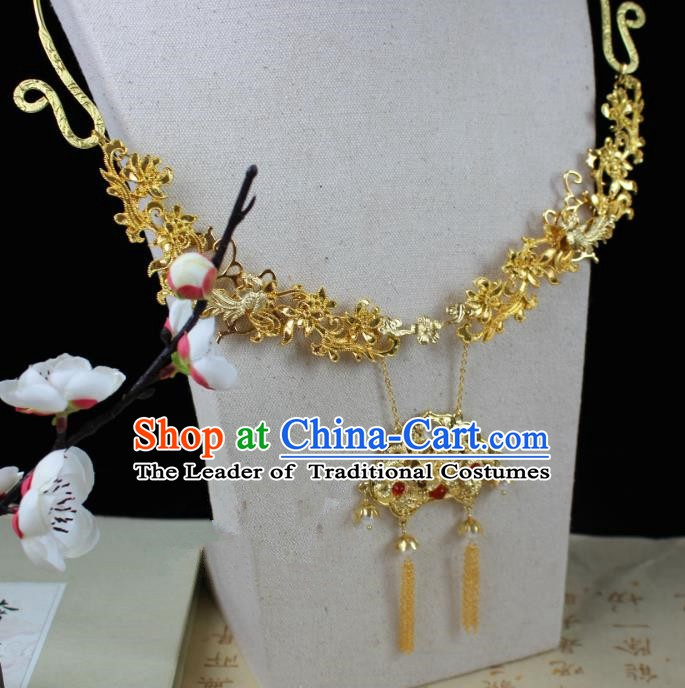 Chinese Handmade Classical Accessories Golden Necklace Hanfu Tassel Necklet for Women