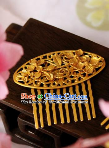 Chinese Handmade Classical Hair Accessories Golden Hair Comb Hairpin Hair Sticks Hanfu Hairpins for Women