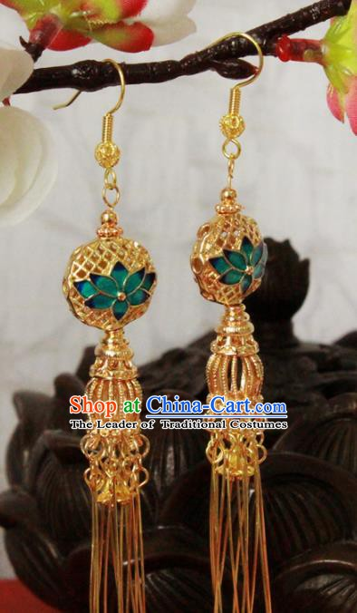 Chinese Handmade Classical Accessories Blueing Lotus Earrings Hanfu Eardrop for Women