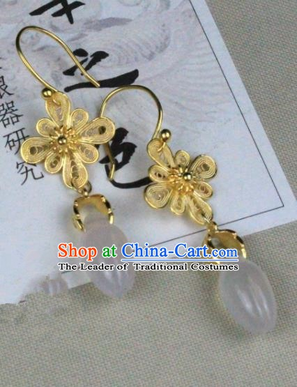 Chinese Handmade Classical Accessories Golden Flowers Earrings Hanfu Eardrop for Women