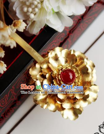Chinese Handmade Classical Hair Accessories Wedding Hairpins Hanfu Golden Flower Hair Stick for Women