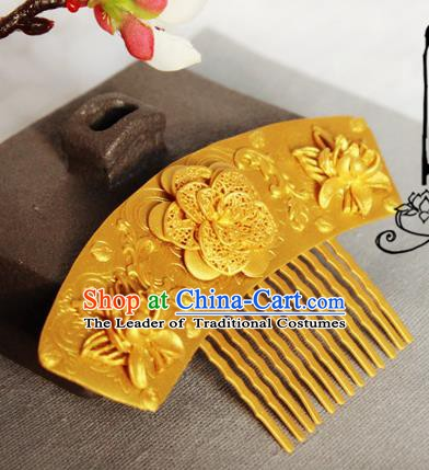 Chinese Handmade Classical Hair Accessories Wedding Hairpins Hanfu Golden Lotus Hair Comb for Women