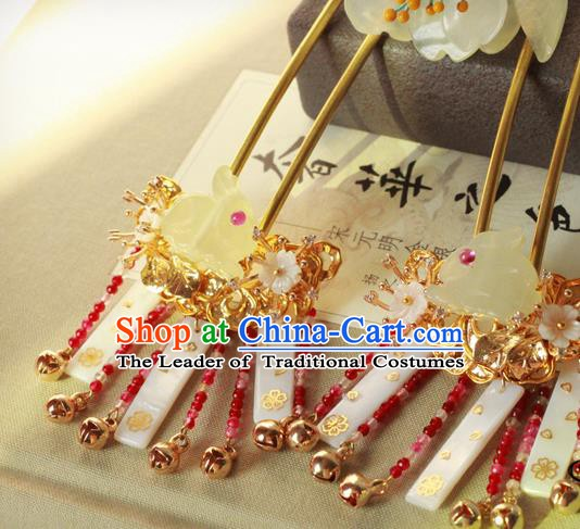 Chinese Handmade Classical Hair Accessories Wedding Jade Rabbit Hairpins Hanfu Tassel Step Shake for Women