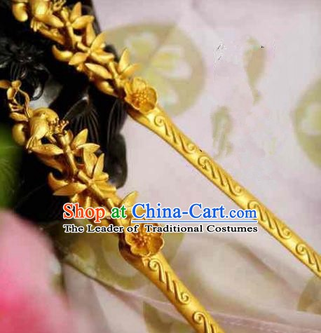 Chinese Handmade Classical Hair Accessories Flowers Birds Hairpin Hair Stick Hanfu Hairpins for Women