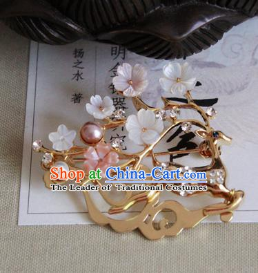 Chinese Handmade Classical Accessories Princess Brooch Hanfu Golden Beer Breastpin for Women