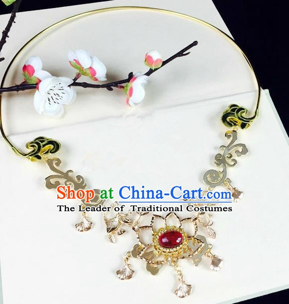 Chinese Handmade Classical Wedding Accessories Princess Golden Necklace Hanfu Red Crystal Necklet for Women