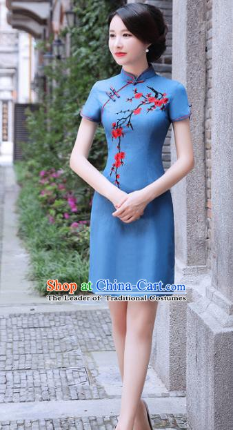 Chinese Traditional Mandarin Qipao Dress National Costume Printing Plum Blossom Blue Cheongsam for Women
