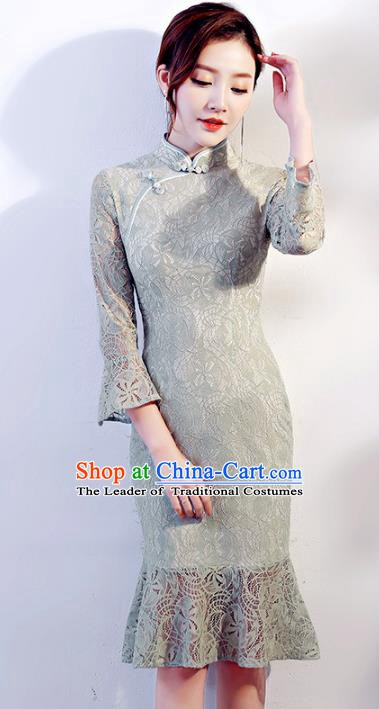 Chinese Traditional Mandarin Qipao Dress National Costume Grey Lace Cheongsam for Women