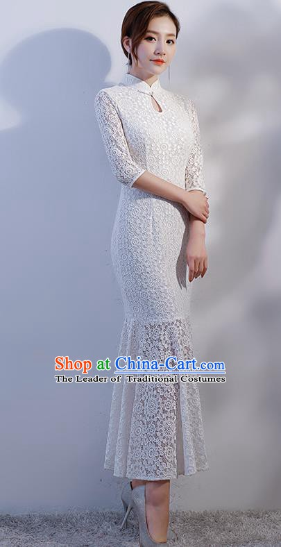 369dfb954 Chinese Traditional White Lace Mandarin Qipao Dress National Costume  Fishtail Cheongsam for Women
