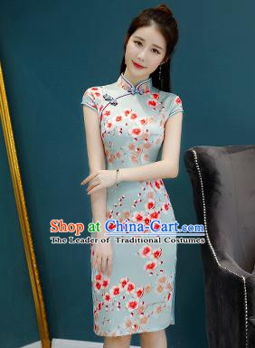 Chinese Traditional Mandarin Qipao Dress National Costume Printing Flowers Green Cheongsam for Women