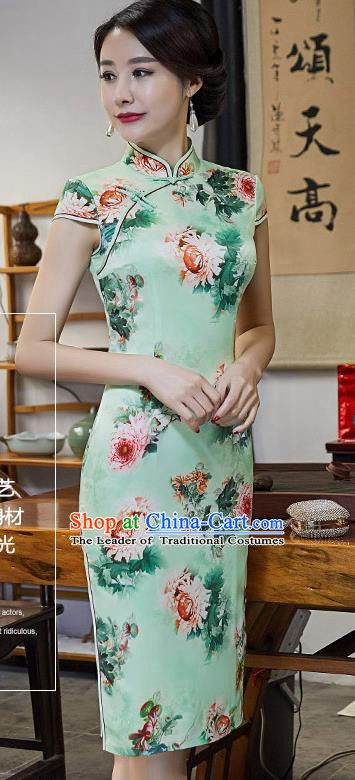 Chinese Traditional Silk Mandarin Qipao Dress National Costume Printing Peony Green Short Cheongsam for Women