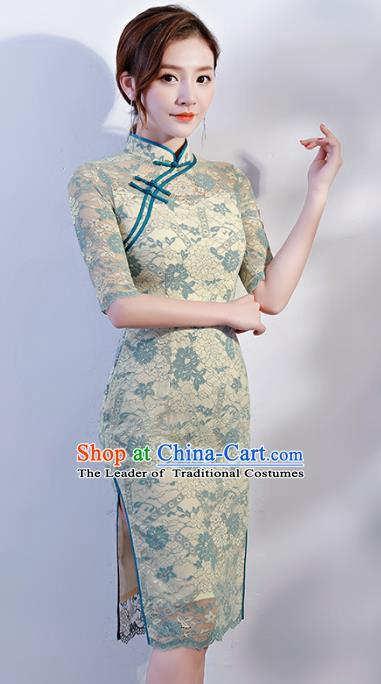 f16eef53 Chinese Traditional Mandarin Qipao Dress National Costume Green Lace Short  Cheongsam for Women