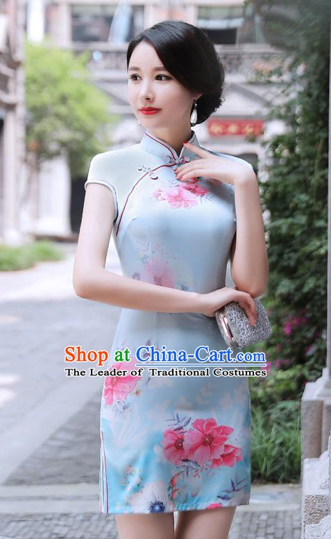 Chinese Traditional Mandarin Qipao Dress National Costume Printing Blue Cheongsam for Women