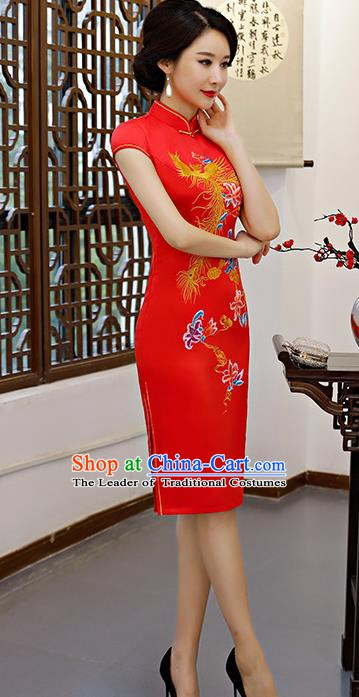 Chinese Traditional Embroidered Phoenix Red Silk Mandarin Qipao Dress National Costume Wedding Short Cheongsam for Women
