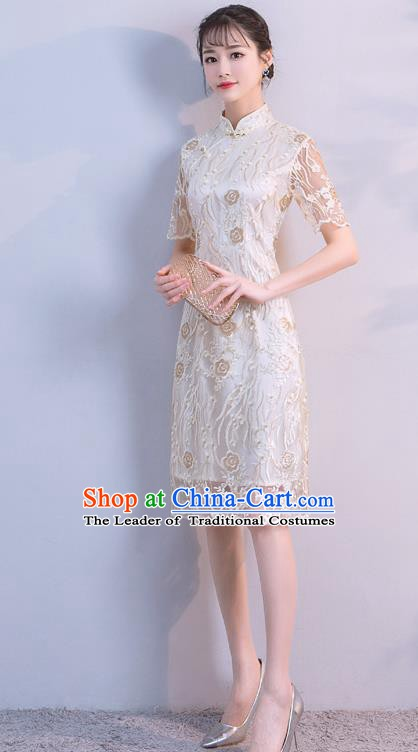 Chinese Traditional Champagne Embroidered Mandarin Qipao Dress National Costume Short Cheongsam for Women