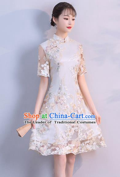 Chinese Traditional Embroidered Mandarin Qipao Dress National Costume Short Cheongsam for Women