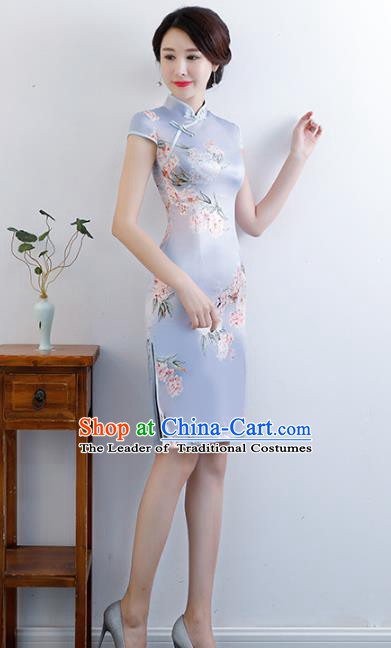 Chinese Traditional Mandarin Qipao Dress National Costume Printing Flowers Blue Silk Cheongsam for Women