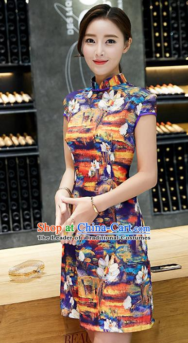 Chinese Traditional Mandarin Qipao Dress National Costume Printing Purple Cheongsam for Women