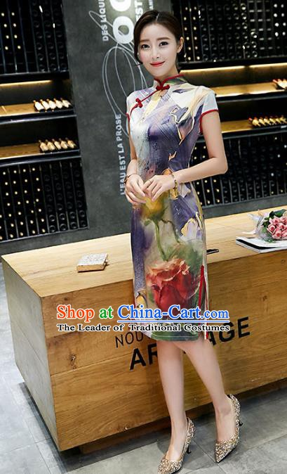 Chinese Traditional Mandarin Qipao Dress National Costume Tang Suit Printing Purple Cheongsam for Women