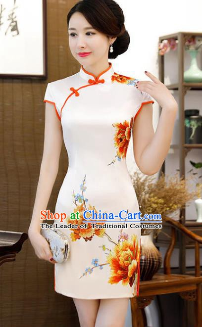 Chinese Traditional Printing Peony Mandarin Qipao Dress National Costume White Silk Short Cheongsam for Women