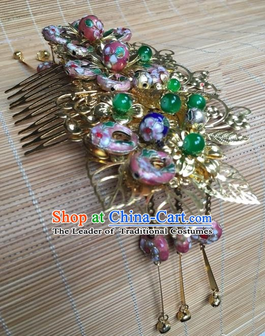 Traditional Chinese Ancient Palace Lady Hair Accessories Hairpins Cloisonne Hair Comb for Women