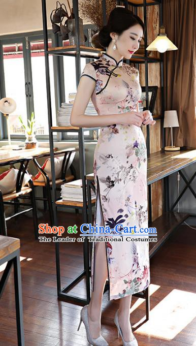 Chinese Traditional Printing Silk Mandarin Qipao Dress National Costume Tang Suit Long Cheongsam for Women