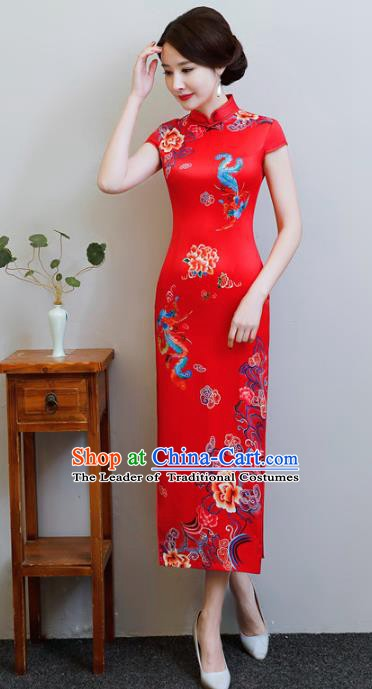 Chinese Traditional Red Silk Mandarin Qipao Dress National Costume Tang Suit Wedding Long Cheongsam for Women