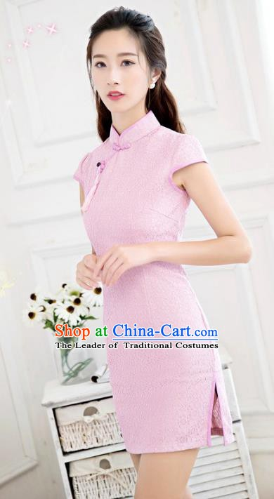 Chinese Traditional Tang Suit Pink Short Qipao Dress National Costume Mandarin Cheongsam for Women