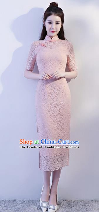 Chinese Traditional Tang Suit Pink Lace Long Qipao Dress National Costume Mandarin Cheongsam for Women